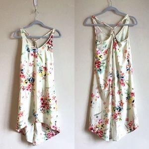 H&M floral asymmetrical shift tank dress